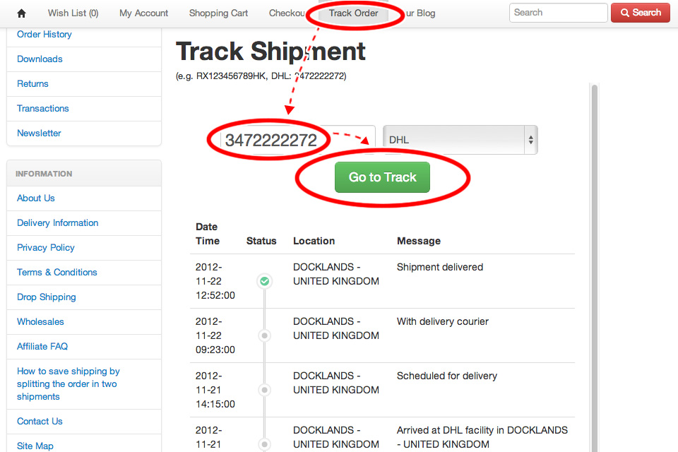 Track Package by using Tracking Number